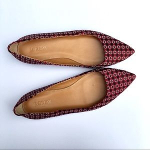 J Crew pointed toe flats 7 fabric loafers